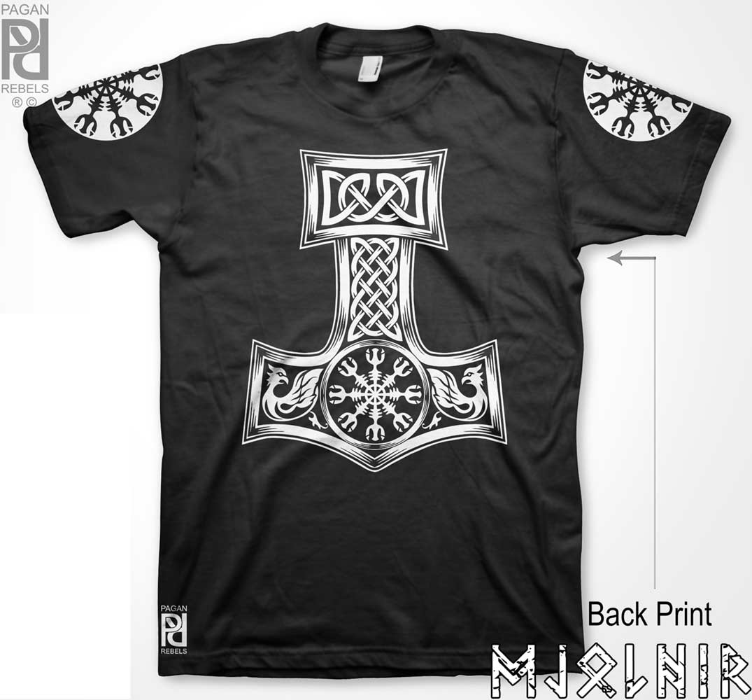 Helm Of Terror Awe Viking Mjolnir T Shirt Pagan Rebels