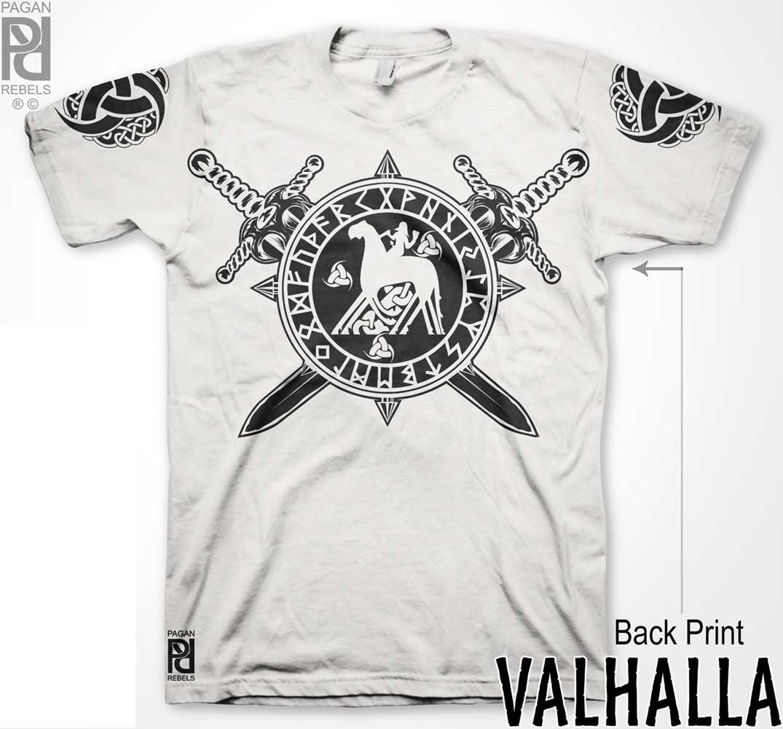3723eb57 Horn Of Odin Ride Slepnir Viking Valhalla T-Shirt - PAGAN REBELS