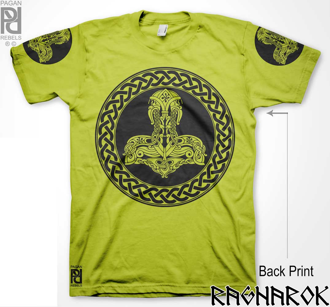Twin Skull Thor Hammer Norse Viking Ragnarok T Shirt Pagan Rebels